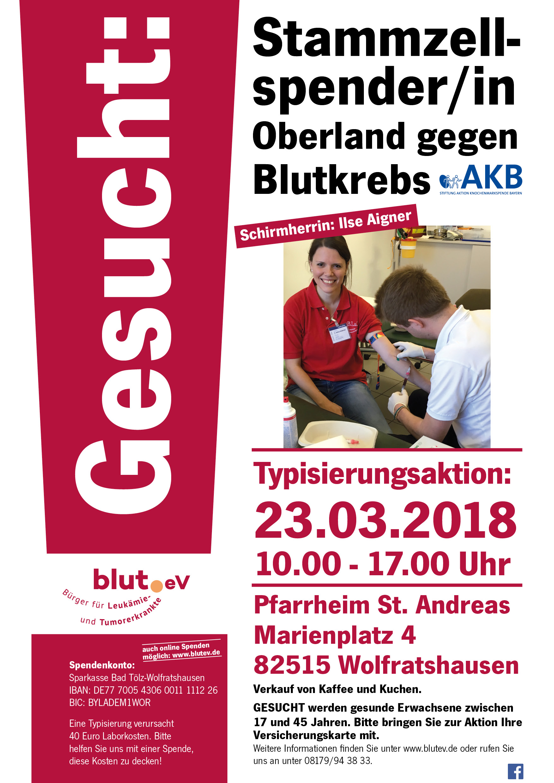 3. Typisierungsaktion Oberland gegen Blutkrebs – Lebensretter gesucht!