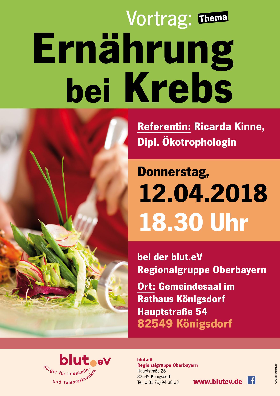 Vortrag bei der Regionalgruppe Oberbayern: Ernährung bei Krebs