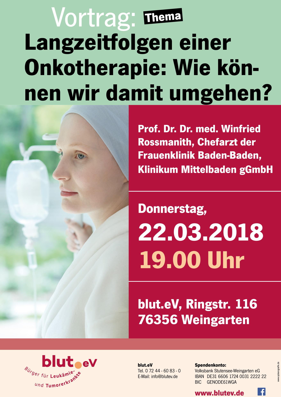 Vortrag bei blut.eV: Langzeitfolgen einer Onkotherapie: Wie können wir damit umgehen?