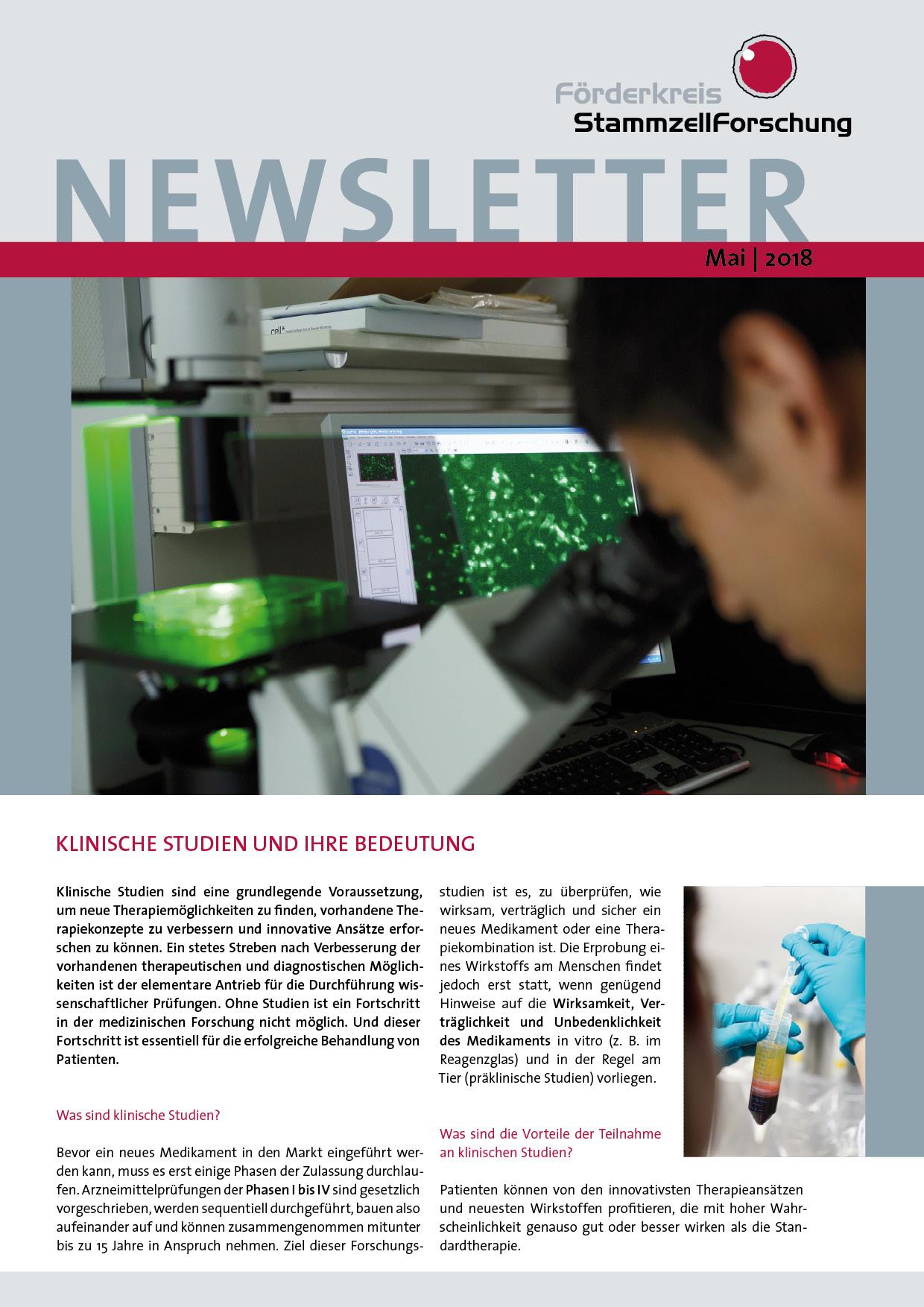 Newsletter StammzellForschung Mai 2018