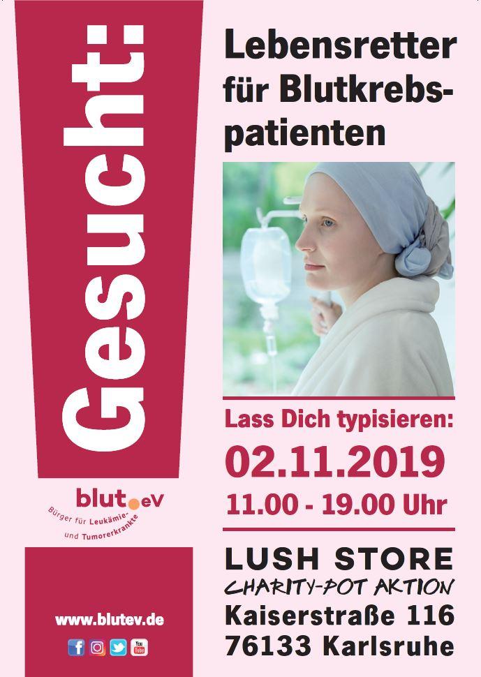 Stammzellspender gesucht bei Charity Pot Aktion von LUSH Karlsruhe