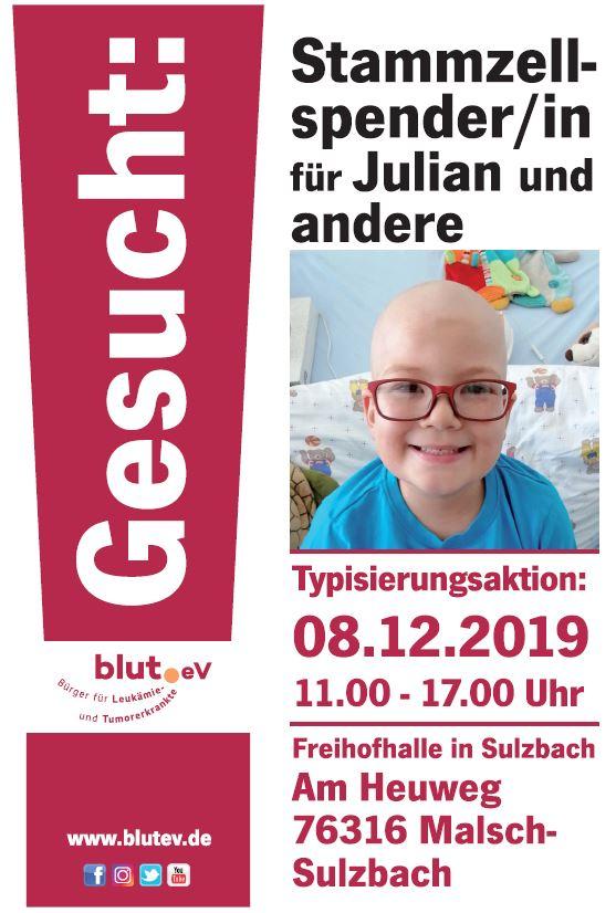 """Stammzellspender für """"Julian"""" gesucht"""