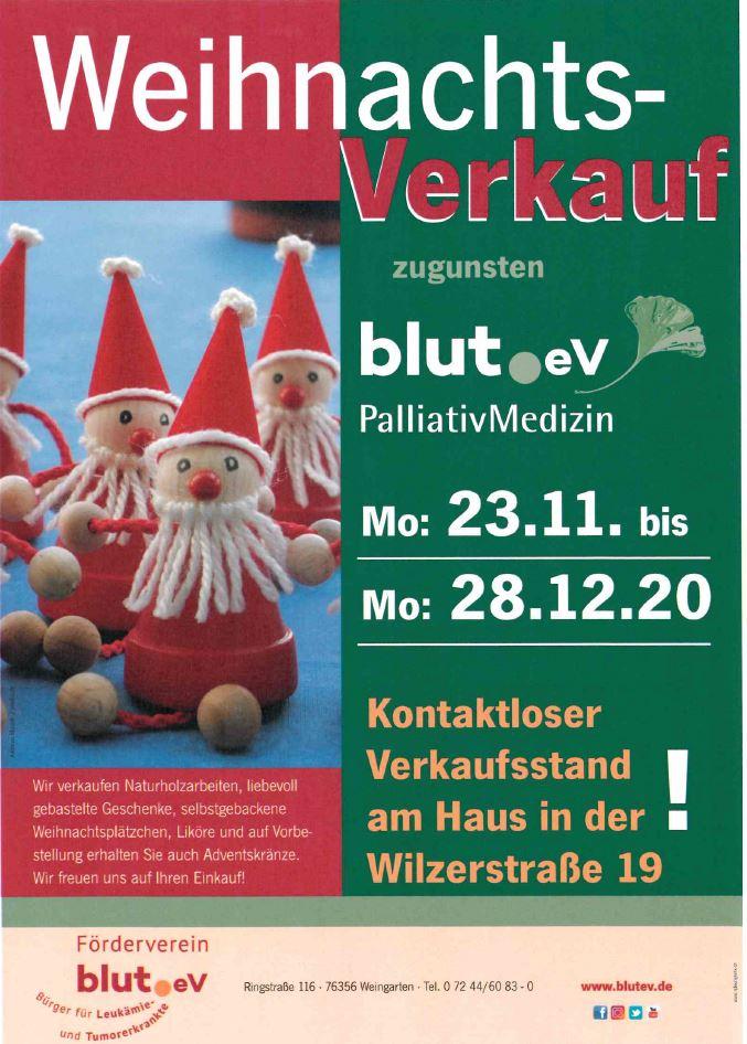 Kontaktloser Weihnachts-Verkauf bei blut.eV